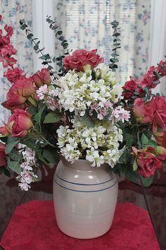 crock flower arrangement