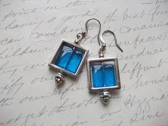 Blue glass tile earrings de la boutique BijouxdeBrigitte sur Etsy