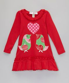 Look at this #zulilyfind! Red Love Birds Ruffle Dress - Infant, Toddler & Girls by mini scraps #zulilyfinds