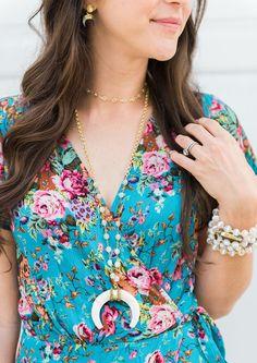 Alexandra Gioia Citrine Crescent Horn Necklace + Auguste floral maxi dress