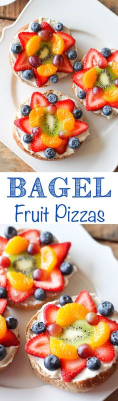 Fruit Pizza Bagel Fruit Pizzas - Colorful fresh fruit layered with lemony cream cheese on a whole wheat bagel.Bagel Fruit Pizzas - Colorful fresh fruit layered with lemony cream cheese on a whole wheat bagel. Fruit Recipes, Brunch Recipes, Breakfast Recipes, Cooking Recipes, Pizza Recipes, Breakfast Ideas, Breakfast Casserole, Breakfast Fruit, Breakfast Pizza