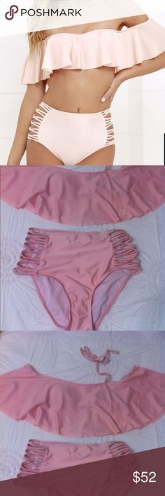 ♦️Off the Shoulder Pink Swimsuit Off the Shoulder Pink Blush Swimsuit, top has removable pads, size M 8 to 10. This is new never been worn, doesn't have the tags! Lined. Has detachable strap. Lulu's Swim Bikinis