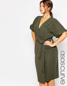 ASOS Curve | ASOS CURVE Obi Wrap Dress With Multi Stitch at ASOS