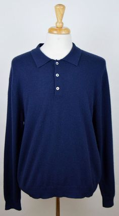 Men's Club Room Navy Blue 100% Cashmere Long Sleeve Polo Sweater XL  #ClubRoom #Polo