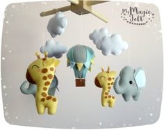 Bebé móvil elefante y jirafa bebé safari móvil cuna por MyMagicFelt