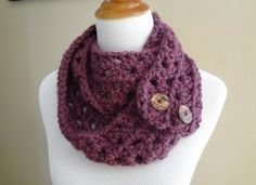 Plum Button Scarf.  Easy and works up quickly using bulky yarn.  Tips on changing width.  I love the buttons!
