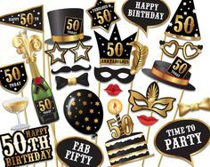 Digital Product - Personal and Commercial Use* 50th Birthday Party Photo Booth props. Instant printable fun. Simply print, cut, and tape or glue