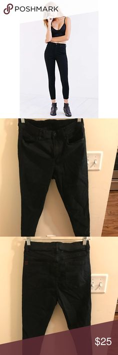 Twig Grazer High Rise Skinnies Ankle cropped high rise black jeans from Urban Outfitters! Super stretchy and comfortable. Small finger-tip size hole in the back from when I tried to rip off UO's size tags (the ones that are fabric). Otherwise in perfect condition. BDG Jeans Skinny