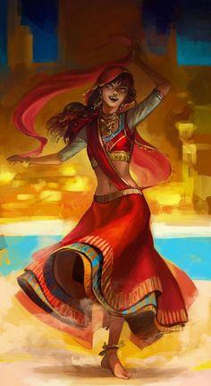 Punjab artwork of a dancing girl, India/Pakistan #Punjabpainting #indiansikhart #indianpaintings #colorpainting #sikhpainting #internationalIndianPainting #Indianmodernart #Punjabart