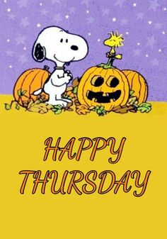 Snoopy Love, Charlie Brown And Snoopy, Snoopy And Woodstock, Good Morning Happy Thursday, Happy Thursday Quotes, Funny Animal Comics, Funny Animal Videos, Peanuts Halloween, Happy Halloween
