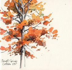 Resultado de imagen de pinterest cuadros de acuarela con arboles otoño
