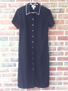 Talbots Petite Black Linen Blend Button Down Short Sleeve Dress Sz 4 #Talbots #Shift #Casual