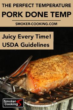 What's the ideal pork done temperature? The USDA modified their food safety guidelines, and adjusted the safe internal temperature for cooked pork to a lower temperature. Meat Cooking Temperatures, Pork Cooking Temperature, Pork Tenerloin, Pork Ribs, Pork Tenderloin Temperature, Smoked Pork Roast, Bbq Pork Tenderloin, Pork Recipes, Recipes