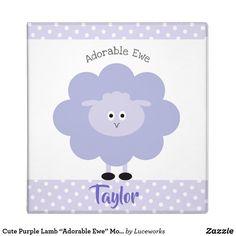 """Cute Purple Lamb """"Adorable Ewe"""" Modern Kid School 3 Ring Binder"""