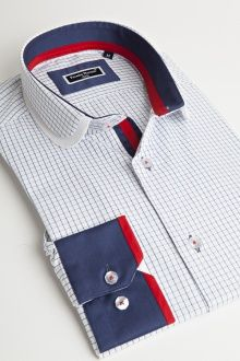 Camisa de hombre Franck Michel Doble Elegance Colección Col Claudine Blanco Azul Azulejos Moda Peru, Corporate Uniforms, Fashion Brand, Mens Fashion, Men Shirts, Formal Shirts, Michel, Workout Shirts, Shirt Designs