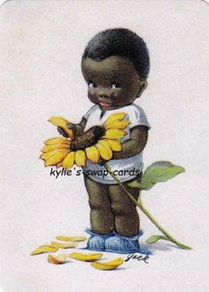 SE69 CUTE KIDS swap playing cards MINT CONDITION African American boy & flower
