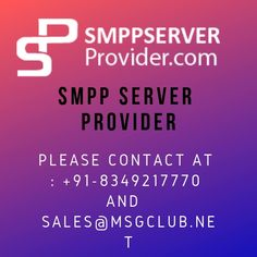 SMPP is a well-renowned protocol used by the telecommunication industry for effective exchange of SMS between business units and the messaging servers. While the former is termed as external short messaging entities (ESMEs) and are provided by SMPP server provider, the latter is usually known as short message service centers (SMSCs). +91-8349217770 or Sales@Msgclub.Net/ sales@smsprovider.com