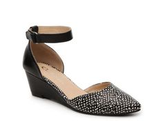 Women's CL by Laundry Touched Reptile Wedge Pump - Black/White