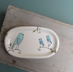 Blue bird plate, spring bluebird dish, gift for baby shower Sharpie Plates, Sharpie Crafts, Sharpie Art, Sharpies, Ceramic Clay, Ceramic Painting, Ceramic Plates, Pottery Painting Designs, Pottery Designs