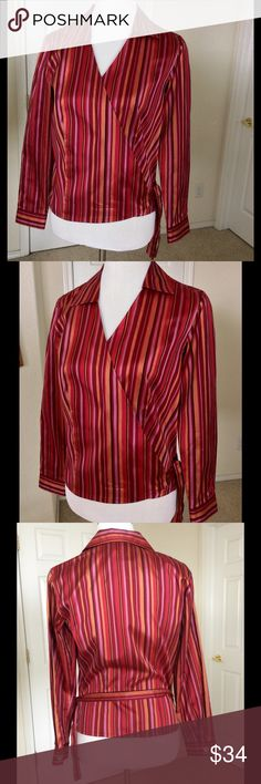 """Coldwater Creek Silk Wrap Top This top is gorgeous! 100% silk twill with a nice weight and body in beautiful berry tones. Excellent pre owned condition. The wrap style makes sizing very versatile. Length from shoulder 23"""". Dry clean 🎀Bundle discount  ⭐️5 star rated Suggested User 🚭Smoke free home 🚫No trades please  😍 Thank you for shopping with me. Please ask all questions before purchase Coldwater Creek Tops"""