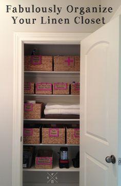 Simply Fabulous Living   how I organized our linen closet   http://simplyfabulousliving.com