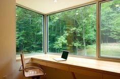 Corner window built-in desk