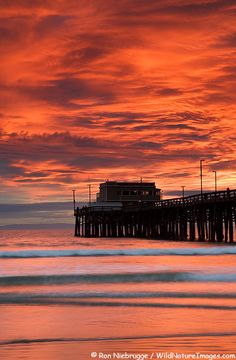 Newport Beach Pier, Newport Beach, California - had a wonderful seafood dinner here at sunset and loved seeing the pelicans fly by so close to us.
