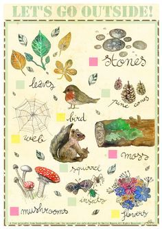 Nature Bingo for Young Children by Emilie Maguin for Seeds and Stitches.                                                                                                                                                                                 More