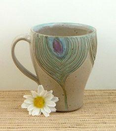 Handmade ceramic peacock mug by flyingpignc on Etsy