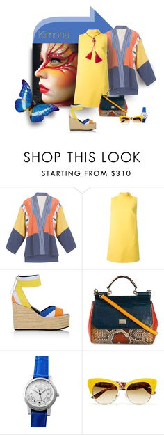 """""""Vivid"""" by michelletheaflack ❤ liked on Polyvore featuring BCBGMAXAZRIA, RED Valentino, Pierre Hardy, Dolce&Gabbana, Hermès, Lanvin and kimonos"""