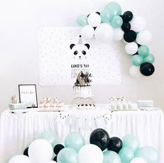 Balloon Arch and color scheme 👌🏽 Panda Themed Party, Panda Birthday Party, Panda Party, Baby 1st Birthday, 1st Boy Birthday, Panda Baby Showers, Baby Boy Shower, Birthday Party Decorations, Party Themes