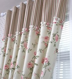 "This climbing rose pattern up to the ruffle then ticking is nostalgic. Perfect for...spare bedroom? Another pinner said, ""tende stile provenzale fiori e quadretti - Cerca con Google"""