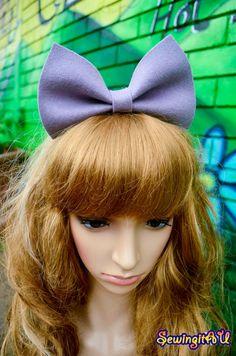 Pale purple felt bow bunny metal headband/hair by SewingitAU,