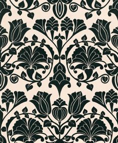 Lambada (99061) - Flamante Wallpapers - An ornate flock design with chandeliers of flowers repeated in an Art Nouveau inspired pattern. Shown in black flock on a cream base. Please ask for a sample for true colour match and to appreciate the beauty of this flock design.