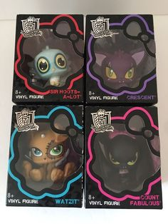 Set 4 Monster High Pet Vinyl Figures Animals Crescent Watzit Count Sir Hoots Lot #Mattel #PetsAnimals