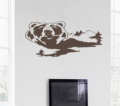 Bear Man Cave Animal Rustic Cabin Lodge Mountains Hunting Vinyl Wall Art Sticker Decal 3