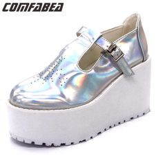 49.98$  Watch now - http://ali2cm.shopchina.info/1/go.php?t=32677191796 - Unique Design Women Spring Summer Autumn Punk shoes High Platform Casual Flats Shoes Creepers Cool Shoes Harajuku flats  #buyonline