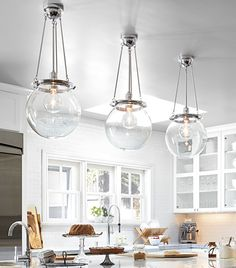 Kitchen Nook // Globe light // Rejuvenation | Classic Kitchen Lighting & Cabinet Hardware