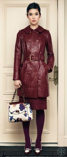 Darlene Coat + Printed Faille Medium Top Resin Bag | Tory Burch Fall 2012