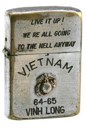 These vintage Vietnam War zippo lighters are fascinating. I'd never seen one until I started pinning, even though several of my friends went to Nam right after we graduated. - Ronni