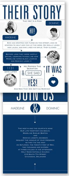 Tell your guests the story of your love with an info-graphic wedding invitation.