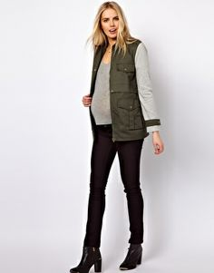 Image 4 ofASOS Maternity Parka With Contrast Sleeves