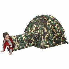 """For Calder's bday: Pacific Play Tents """"Command HQ"""" Tent & Tunnel Combo Kids Tents, Play Tents, Play Tent And Tunnel, Army Party, Tent Set Up, Roll Up Doors, Camouflage Patterns, Toddler Furniture, Outdoor Store"""