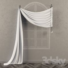 3d models: Curtain - Asymmetric curtain on the brackets with a counterweight