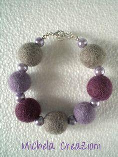 Lilac and grey felt balls bracelet