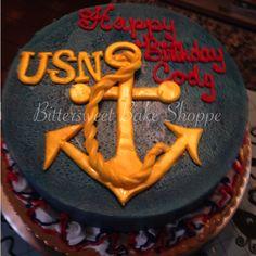 United States Navy (USN) Anchor Birthday Cake - Bittersweet Bake Shoppe - Tyngsboro , Massachusetts 01879