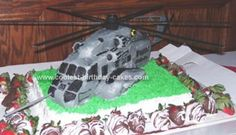 Helicopter USMC Retirement Cake: My husband just retired from the Marine Corps after 20 years of service. I wanted to make him a special cake and since he has worked with the CH53-E's