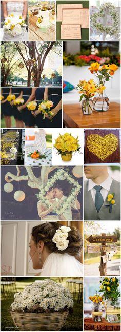 Inspirações para um casamento amarelo. (Yellow wedding inspirations)   Margarida, billy ball, rosas..   #casamentoamarelo #quadro