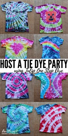 Tulip Tie Dye T-shirt Party! How to host a tie dye party using Tulip one step dyes. Make brightly colored shirts for summer camps, family reunions or just a family activity. Instructions on how to do a wide variety of tie dye effests.