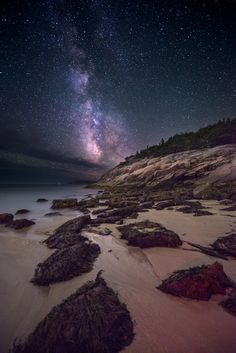 """Milky Way rising over Sand Beach, Acadia National Park, Maine."""